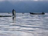 Fisherman on Boat with Net on Lake Inle Inle Lake  Shan State  Myanmar (Burma)