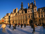 Ice-Skating in Front of Paris Hotel De Ville (City Hall)  Paris  France