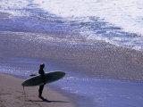 Surfer on the Malibu Shore  Los Angeles  California  USA