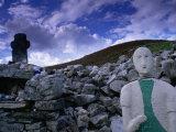 Effigy  Cairn and Stone Cross at 6th Century St Colmba's Chapel  Glencolumbcille  Ireland