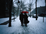 Walking on Snowy Winter Street  New York City  New York  USA