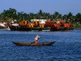 Row Boat Crossing Danang Harbour  Da Nang  Vietnam