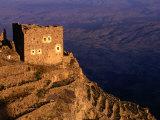 Ruined Building on Hilltop Overlooking Valley  Shihara  Yemen