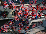 Union Jacks Festooned Over Boats at the Maidstone River Festival  Kent  England