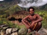 Dani Man in Front of His House Near the Baliem Gorge  Tangma  Irian Jaya  Indonesia