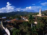 Township with Sierra Del Escambray in Distance  Trinidad  Sancti Spiritus  Cuba