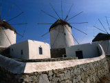 Thatched-Roof Windmills on Plateau  Mykonos Town  Greece