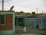 A Dog Watches Passersby from the Roof of an Arica House