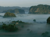 Fog Surrounds Mogotes in the Valle De Vinales at Sunrise