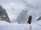 A Man on a Rope in the Karakoram Mountains  Pakistan