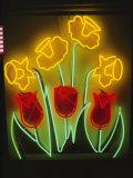 Neon Tulips and Irises Brighten up a Display Window