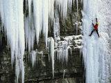 A Woman Ice Climbing in British Columbia