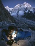 A Man in His Sleeping Bag in Charakusa  Karakoram  Pakistan