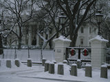 Christmas Wreaths Add a Touch of Color to Snow-Covered White House