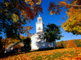 Church and Autumn Foliage  Otis  MA