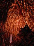 Fourth of July Fireworks Illuminate the Sky Behind the Iwo Jima Monument