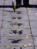 Man Doing Water Calligraphy on Jingshan (Sun Yet-Sen) Park Pathway Bejing  China