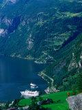 Cruiseship in the Geirangerford  Geiranger  Norway