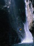 Man Canyoning in Waterfall  Nepal