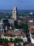 The Rooftops of Bruges and the Landmark Tower of 13th Century St Salvatorskathedral  Belgium