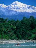 Raft Floating on Lower Section on Marsayangdi River Below the Annapurnas  Gandaki  Nepal