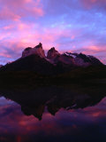 Cuernos Del Paine and Reflection at Dawn  Torres Del Paine National Park  Chile