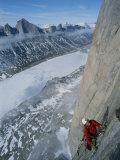 Mountain Climber Ascending Great Sail Peak above Stewart Valley