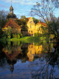 Sunset on Straupe Castle and Reflection Pond  Gauja National Park  Latvia