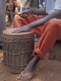 Playing a Congolese Drum in a Congolese Refugee Camp  Tanzania