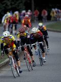 Bicycle Racers at Volunteer Park  Seattle  Washington  USA