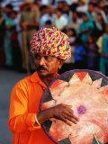 Rajastani Musician Playing Drum During Elephant Festival Parade  Jaipur  India