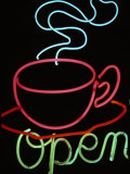 "Neon Steaming Coffee Cup and the Word ""Open"""