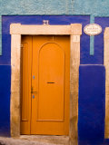 Door on Colorful Blue House  Guanajuato  Mexico