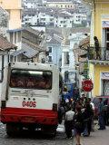 Large Bus in Narrow Street  Quito  Ecuador
