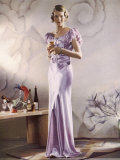 Lilac Satin Bias Cut Gown with Gathered Self-Coloured Belt Gored Skirt