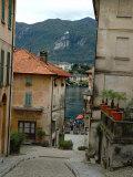 Cobblestone Street Down to Waterfront  Lake Orta  Orta  Italy