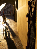 Early Morning Cyclist in Innsbruck's Altstadt (Old Town)  Innsbruck  Austria
