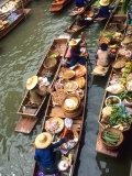 Vendors  Waterways and Floating Market  Damnern Saduak  Thailand