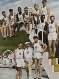 American Contestants Pose and Smile at the Side of the Swimming Pool