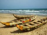 Traditional Fishing Boats on Kokrobite Beach  Greater Accra Region  Gulf of Guinea  Ghana