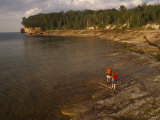 Backpackers at the Mouth of the Mosquito River  Pictured Rocks National Lakeshore  Michigan