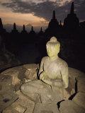 Statue of Buddha  Borobudur  Java Island  Borobudur  Java Island  Indonesia