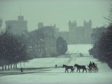 Prince Philip of England Drives a Coach Toward Toward the Long Walk  Windsor Castle  England