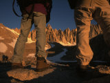 Hikers Look Toward the Peak of Mount Whitney During and Ascent