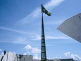 Brazilian Flag Fluttering  National Congress Building  Brasilia  Brazil