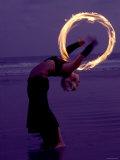 Fire-eater Twirling Fire on the Beach  Samara Beach  Guanacaste  Costa Rica