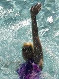 Young Woman Swimming the Backstroke in a Swimming Pool  Bainbridge Island  Washington  USA