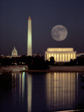 Lever de la lune sur le Lincoln Memorial Papier Photo par Richard Nowitz