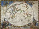 A Map of the Eastern Hemisphere Depicting Famous Explorers Routes Painted in 1927 Papier Photo par Jr, Victor R. Boswell