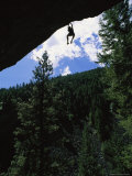 A Rock Climber Dangles from an Overhang in Kootenai Canyon